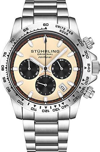 Stuhrling Original Mens Sport Chronograph Watch - Stainless Steel Brushed Matte Bracelet, 891 Formula'i' Watches Collection (Beige)