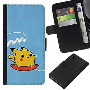 All Phone Most Case / Oferta Especial Cáscara Funda de cuero Monedero Cubierta de proteccion Caso / Wallet Case for Sony Xperia Z1 L39 // Surfing Poke Monster
