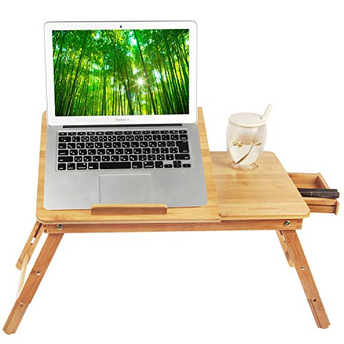 puter, Notebook, Ipad, Book Holder & Stand , Breakfast Serving Bed Tray, Adjustable & Foldable with Flip Top and Drawer, 100% Bamboo - by Ecobambu ()