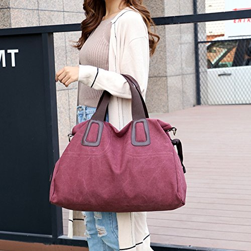 Crossbody Shoulder Bag Large Weekender Purse Canvas Bags Women's Tote Travel Red Work SOgZqw6nW