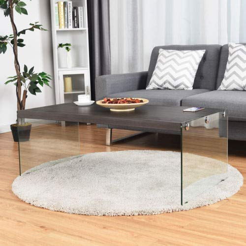 (Modern Soho Coffee Table Wooden Top Tempered Glass Legs Living Room)
