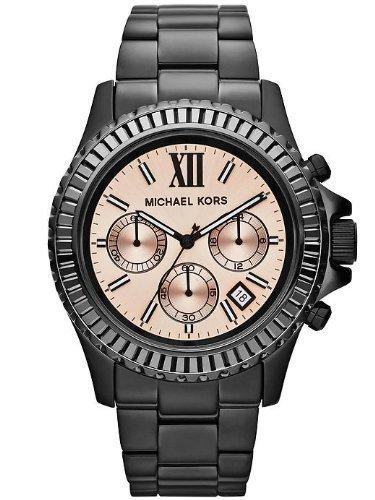 Michael Kors Everest Chronograph Peach Dial Black Ion-plated Ladies Watch MK5872 ()