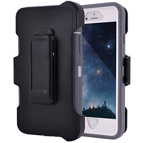 MAXCURY iPhone 6 Plus Case, Hybrid Rubber Silicone and Hard PC Plastic Defender Case with Built-in Screen Protector and Belt Clip Holster for iPhone 6s Plus(Grey/White & Clip)