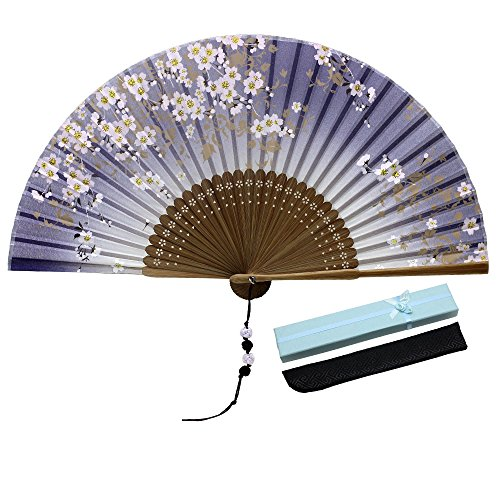 JSSWB Silk Folding Fan, Chinese/Japanese Vintage Retro Style Handmade Silk Hand Fan with a Silk Sleeve and Handmade Tassels for Home Decoration Party Wedding Dancing (Style-8)