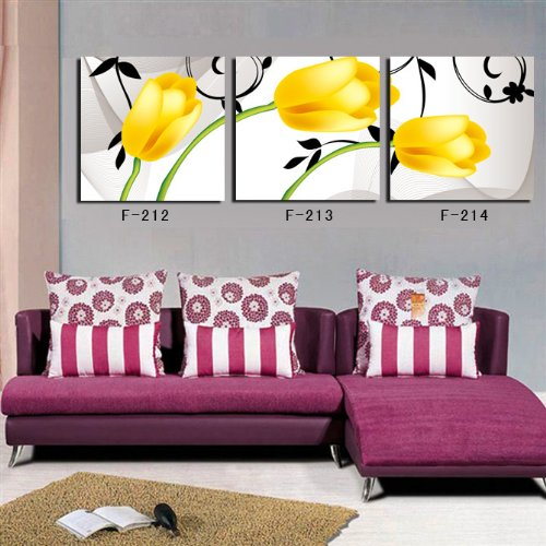 Yellow Tulip Frameless Paintings- Three Piece Art