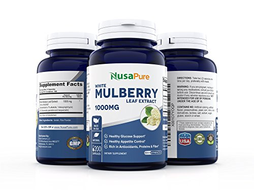Best White Mulberry Leaf Extract 1000mg 200 Capsules (No Fillers, Non-GMO & Gluten Free) Natural High & Low Blood Sugar Control, Weight Loss Support - 100% Money Back Guarantee! by NusaPure (Image #2)