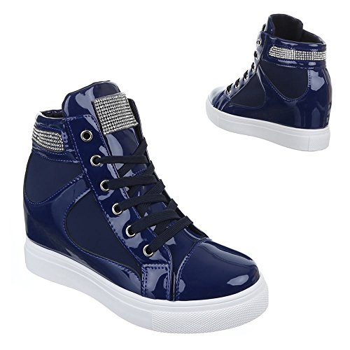 Damen Schuhe, A6012, Freizeitschuhe High-Top Sneakers Keilabsatz Blau