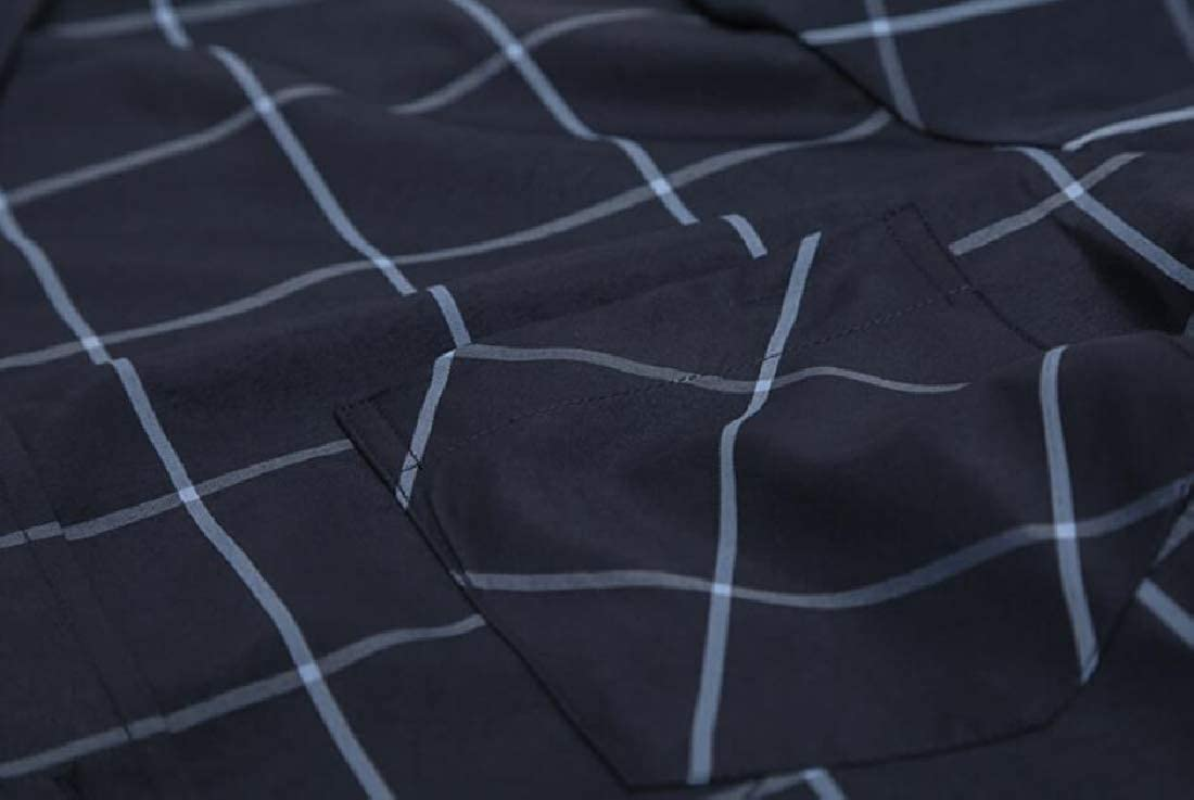 WSPLYSPJY Men Fashion Checkered Long Sleeve Button Down Business Dress Shirts