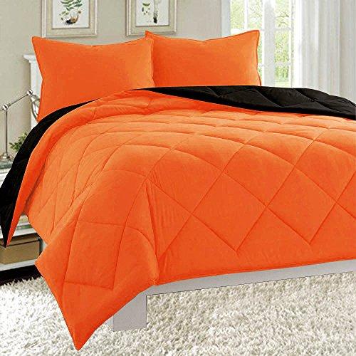 Dayton Down Alternative Reversible 3-Piece Comforter Set Quilted Soft Brushed Microfiber Bed Cover All Sizes (Queen, Orange & Black) (Orange Queen Comforter Set)