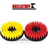 "2pc Scrub Brush Upholstery Car Carpet Mat 5"" Round with Power Drill Attachment"