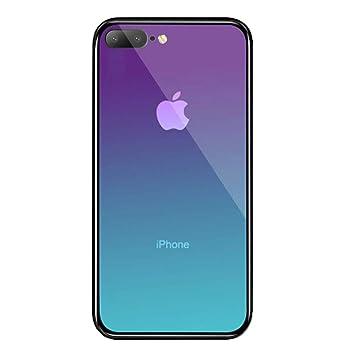 LAYJOY Funda iPhone 7 Plus, Funda iPhone 8 Plus, Ligera Carcasa Silicona Suave Negro TPU Bumper y Transparente Cristal Templado Case de Protectora ...