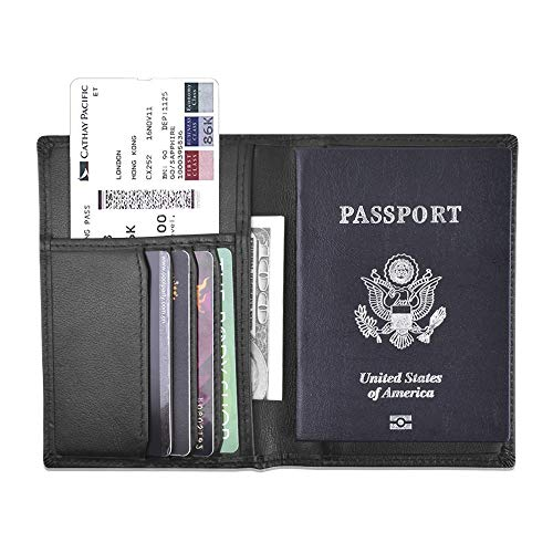 Travel Passport Wallet Rfid Blocking -Black Leather Passport Holder Cover Card Case for Men and Women Multi-purpose Document Organizer - Case Passport Calf Large