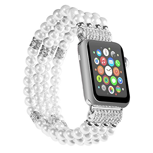 (Watch Band for Apple Watch 38mm/42mm Handmade Luxury Beaded Faux Pearl Watch Strap Elastic Strech Replacement Bracelet Band for Apple Watch Series 1 Series 2 Series 3 (White-38mm))