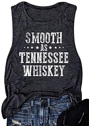 Summer Vintage Whiskey Muscle Tank Top for Women Funny Drinking Sleeveless Workout T Shirt Casual Tank Blouse Vest(Large, Grey)