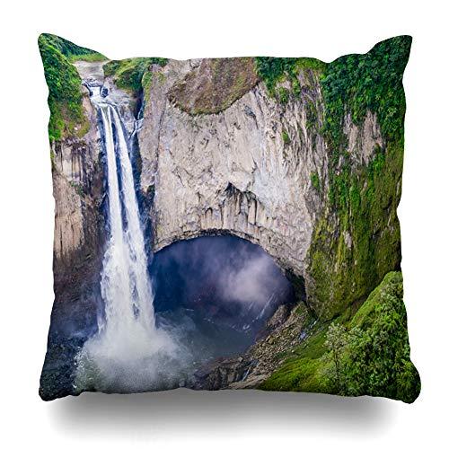 Ahawoso Throw Pillow Cover Square 18x18 Torrent Green Adventurous Impressive San Rafael Waterfalls Drop Lush Rainforest Nature Adventure America Andean Design Pillowcase Home Decor Cushion Case