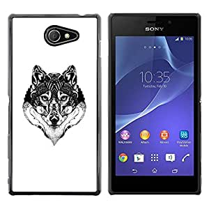 Paccase / SLIM PC / Aliminium Casa Carcasa Funda Case Cover para - Wolf Black White Drawing Art Eyes - Sony Xperia M2