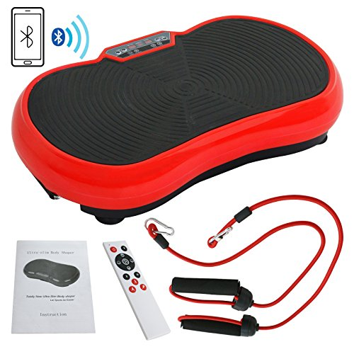 Full Body Vibration Platform Massage Machine Fitness W/Bluetooth Red ()