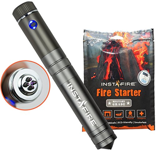InstaFire Crossfire Electric Plasma Lighter with Natural Fire Starter – Dual Arc Plasma Lighter with Military Grade Fire