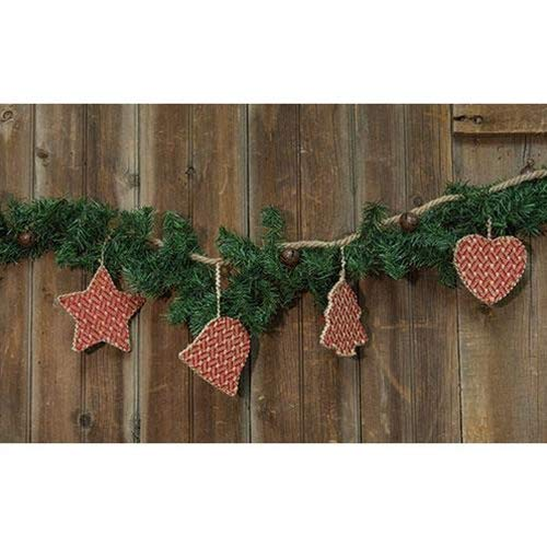 Red Co Heart Star /& Christmas Tree Homespun Burlap Garland with Jingle Bells Perfects Christmas Tree Bell Wall or Mantels Decoration