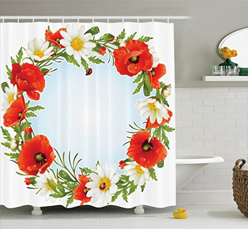 Ambesonne Ladybugs Decorations Collection, Camomile and Poppy Frame in the Shape of Circle Love Celebration Event Daisy Image, Polyester Fabric Bathroom Shower Curtain Set with Hooks, Red ()