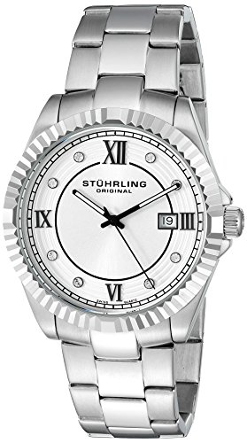 Stuhrling Original Men's 399G.33112 Symphony Swiss Quartz Date Stainless Steel Crystal- Accented Link Bracelet Watch ()