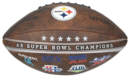 Gulf Coast Sales NFL Pittsburgh Steelers Commemorative 6X Champ Football, - Football Pittsburgh Case Brown Steelers