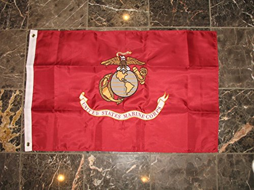 2x3 Embroidered Sewn Double Sided USMC Marines Marine Solarmax Nylon Flag 2'x3'