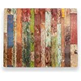 Brownlow Gifts Woodgrain Multicolor Glass Cutting Board