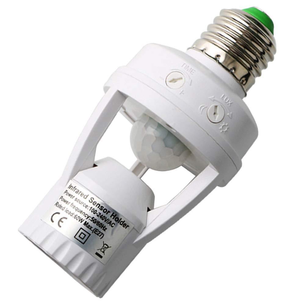 Motion Sensor Led Lamp Holder, 360 Degree Infrared Motion PIR Sensor Automatic LED Light Lamp Holder for Basement, Pantry Room, Storage Room.