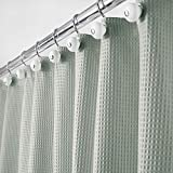 mDesign Hotel Quality Polyester/Cotton Blend Fabric Shower Curtain with Waffle Weave and Rustproof Metal Grommets for Bathroom Showers and Bathtubs - 72' x 72' - Sea Green
