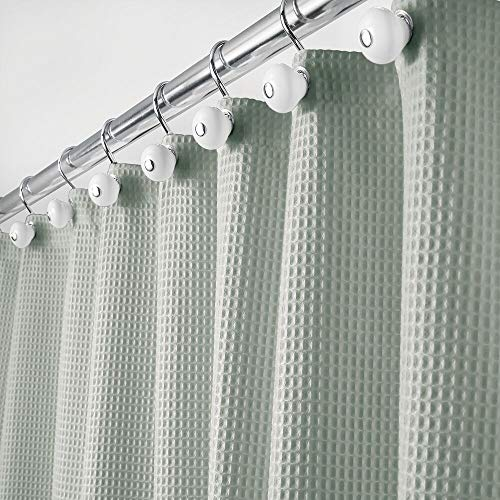 "mDesign Hotel Quality Polyester/Cotton Blend Fabric Shower Curtain with Waffle Weave and Rust-Resistant Metal Grommets for Bathroom Showers and Bathtubs - 72"" x 72"" - Sea Green"