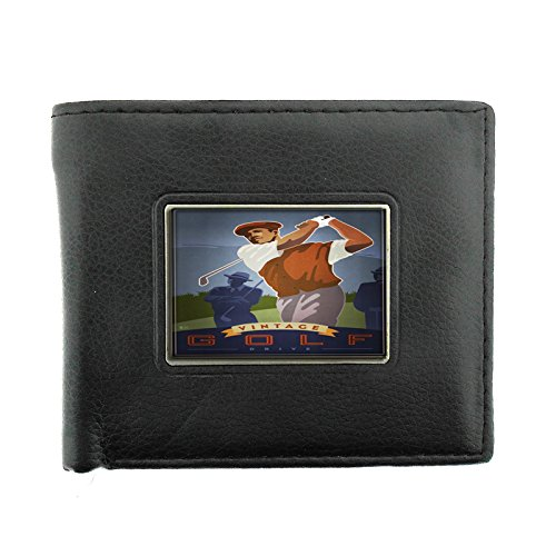 004 Golf - Perfection In Style Black Bifold Leather Material Wallet Vintage Golf Design 004