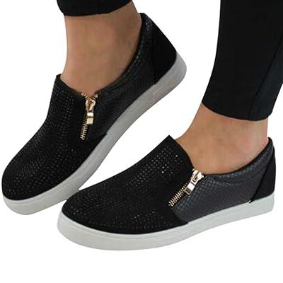 Amlaiworld Women Casual Sneakers Flat Slip On Shoes Rhinestone Side Zipper Pumps Single Shoes: Clothing