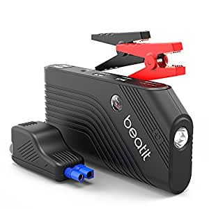 Beatit 600A Peak 14000mAh Portable Car Jump Starter With Smart Jumper Cables (up to 5.5L Gas, 4.0L Diesel Engine) Battery Booster Phone Power Bank Compass & Built-in Flashlight
