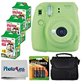 Fujifilm instax mini 9 Instant Film Camera (Lime Green) - Fujifilm Instax Mini Twin Pack Instant Film (60 Shots) + Compact Camera Case + 4 AA Batteries + Photo4Less Cleaning Cloth - Accessory Bundle