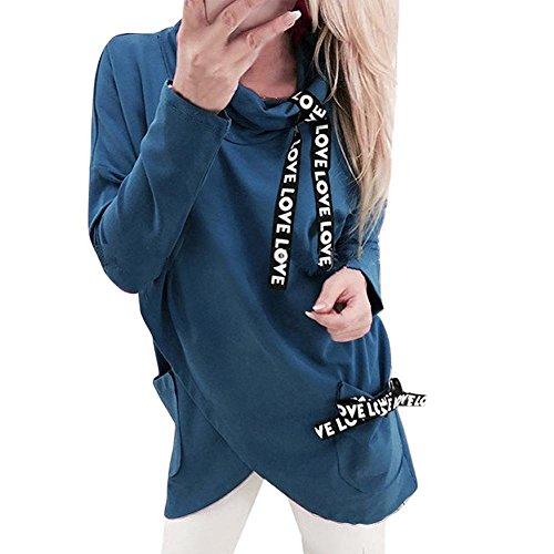 Yamally_9R Fashion Turtleneck Irregular Sweatshirt Blouse Pullover Faux Silk Anorak