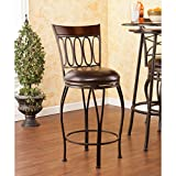 Southern Enterprises Brookshire Swivel 37'' Counter Stool, Dark Champagne Frame with Rich Walnut Backrest Finish and Dark Brown Seat