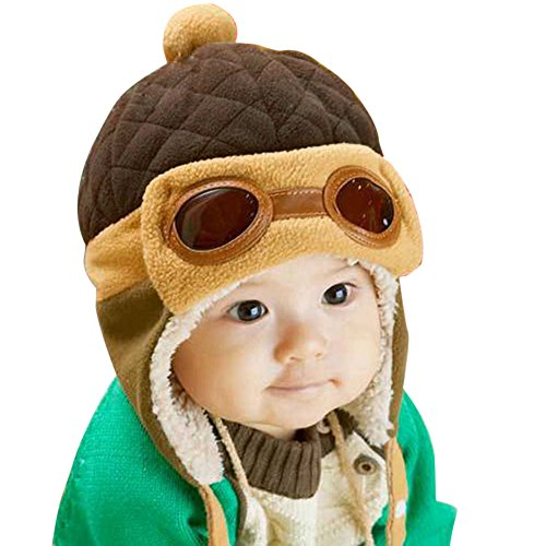 chinatera Baby Boys Hat Winter Warm Cap Hat Beanie Pilot Aviator Crochet Earflap (Coffee) -