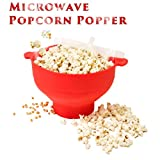 Dobene Microwave Popcorn Popper Sturdy Convenient Handles Healthy No Oil Silicone Red Collapsible Hot Air Movie Theater Aroma Great Popcorn Maker Machine.BPA PVC Free With Lid (Red)