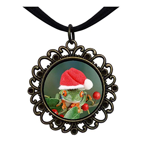 GiftJewelryShop Bronze Retro Style Holly Hopping Santa Frog Flower Pendant Charm Necklaces #22