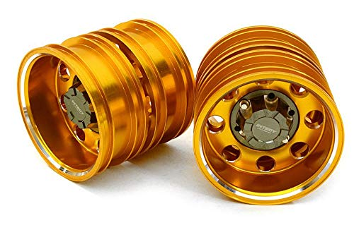 (Integy RC Model Hop-ups C27023GOLD Billet Machined Alloy Rear Dually Wheel Set for Tamiya 1/14 Scale Tractor Trucks)