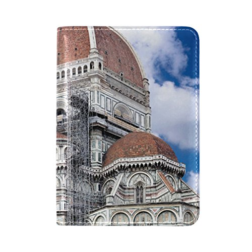 PU Leather Passport Holder Cover Case with Vintage Church Travel One Pocket by IVERS