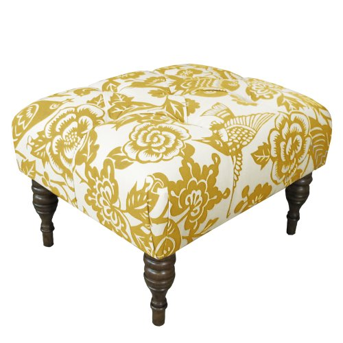 Skyline Furniture Tufted Ottoman, Canary Maize Review