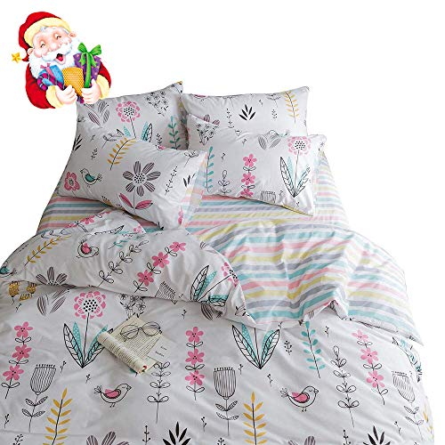 BuLuTu Floral Bird print Pattern Girls Duvet Covers Queen White Premium Cotton Spring Blossom Colorful reversible Kids Bedroom Comforter Cover filled Bedding Sets Zipper for Teen Toddler,NO Comforter Black Friday & Cyber Monday 2018