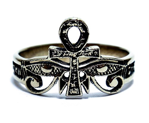 Tribal Egypt Egyptian Life Ankh Ring, Eye Of Horus With Ankh Ring Egyptian Eye of RA Ring 925 sterling silver ring Size 5-13 (Eye Of Ra And Eye Of Horus)