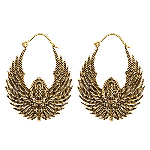 81stgeneration Women's Brass Gold Tone Egyptian Inspired Bird Wings Tribal Ethnic Dangle Earrings