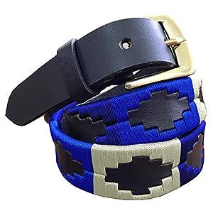 Carlos Diaz Cinturón Polo de Cuero Bordado Marrón Delgado de Diseñador para Hombres Mujeres Unisex   DeHippies.com