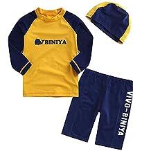 Boys Kids 3 Piece Short Sleeve Funny Cartoon Rash Guard UV Sun Protection Swimsuit