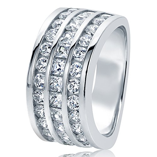 HB AMERICA Sterling Silver Round & Princess CZ Three Row Channel Set Wedding Anniversary Ring 10MM (Size 5 to 10), 5 ()