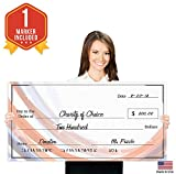 Giant Fake Check for Endowment Award - 32'' x 16'' - Large Novelty Presentation Checks Plaque - Blank Big Reward Prize Spin Wheel Donation - Raffle Fundraising Winners Celebration
